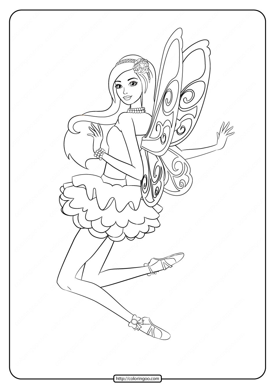 Printable Barbie Fairy Secret Coloring Pages 04
