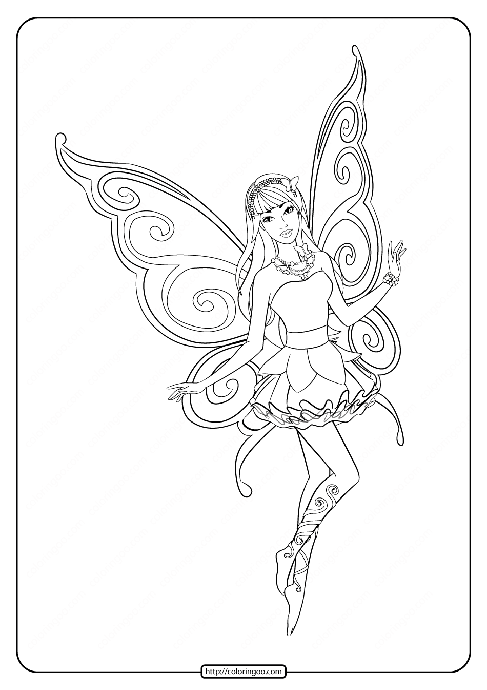 Printable Barbie Fairy Secret Coloring Pages 05