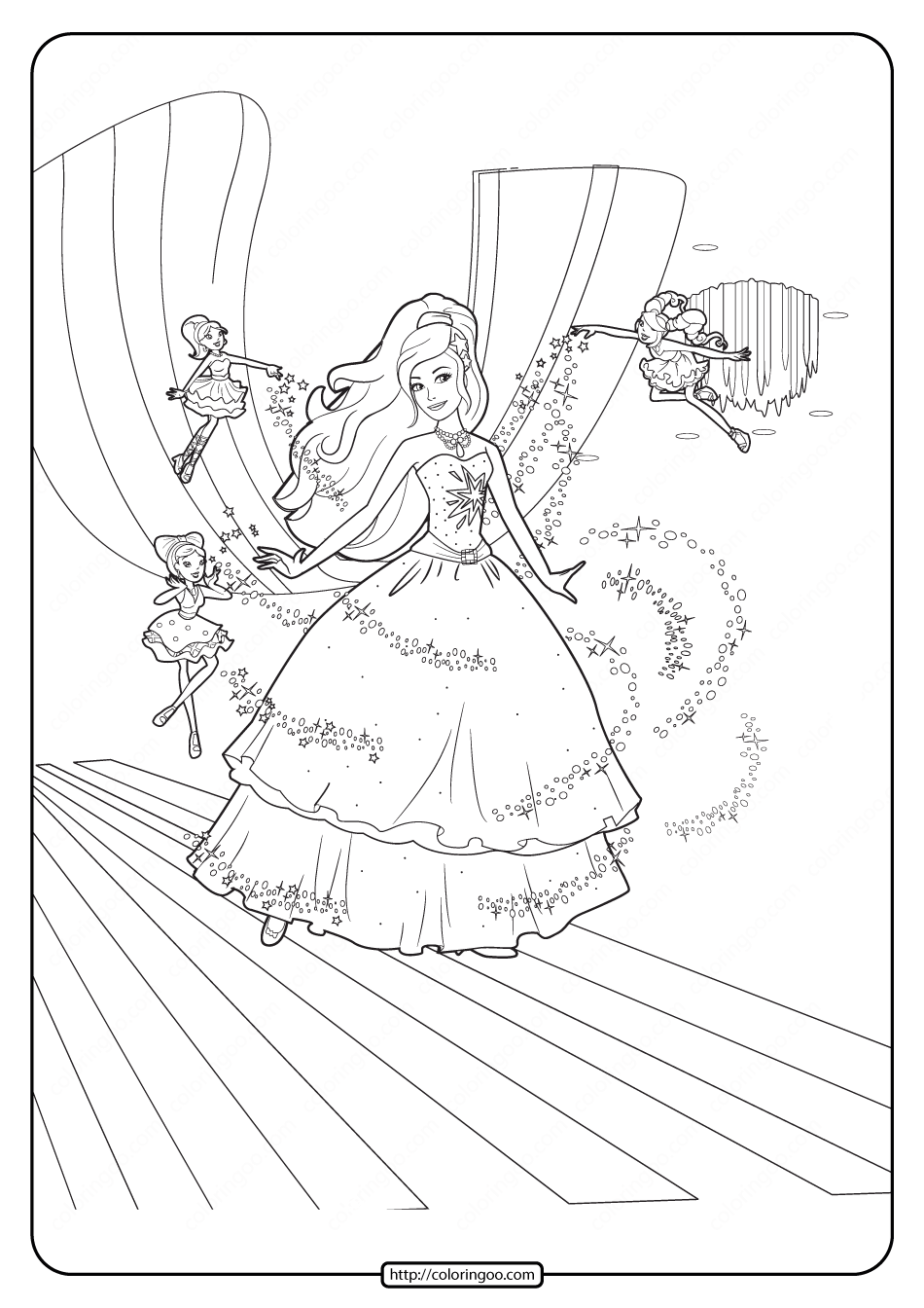 Printable Barbie Fashion Fairytale Coloring Pages 01