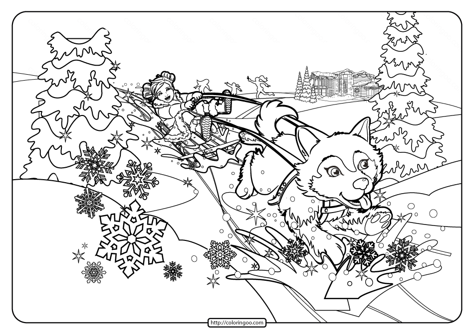 Printable Barbie Perfect Christmas Coloring Pages 03