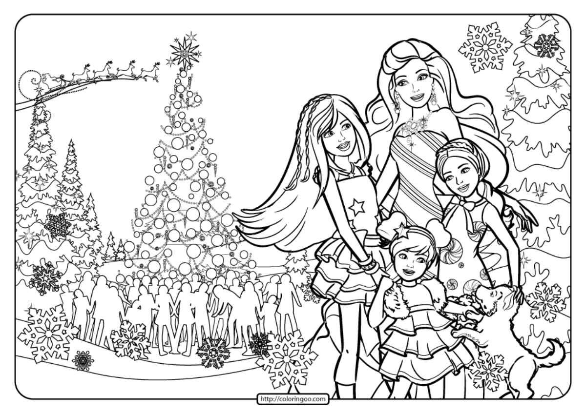 Printable Barbie Perfect Christmas Coloring Pages 04