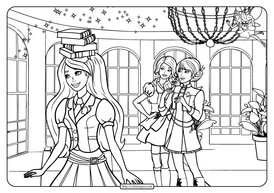 Printable Barbie Princess Charm School Coloring Page