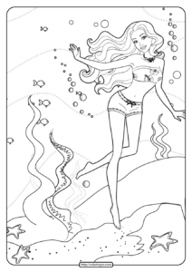 Printable Barbie Tropical Vacay Coloring Pages