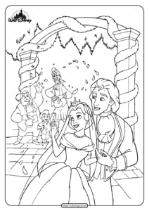 Printable Belle and Her Prince Married Coloring Page
