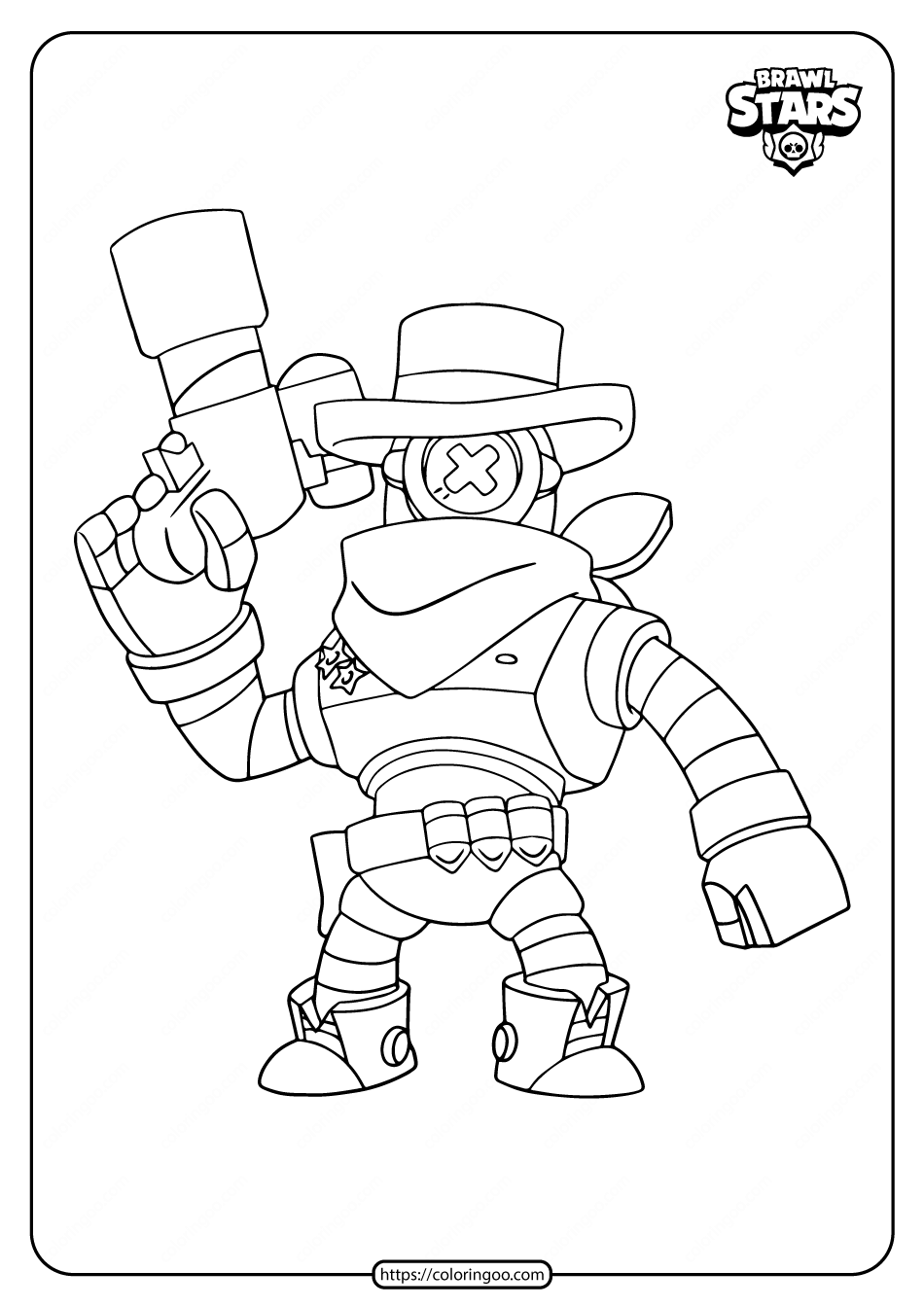 Printable Brawl Stars Sheriff Darryl Coloring Pages