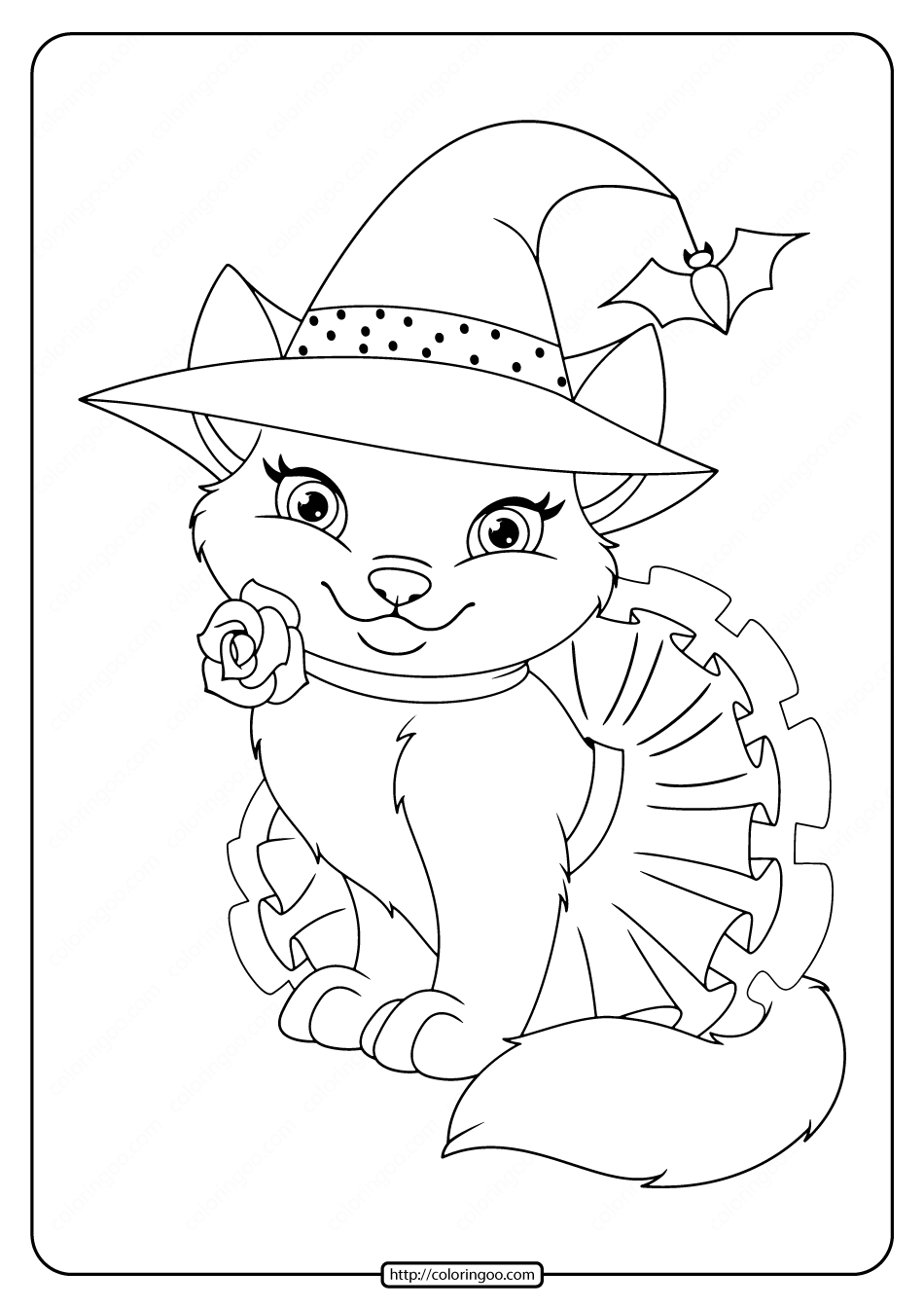 Printable Cute Halloween Cat Coloring Pages