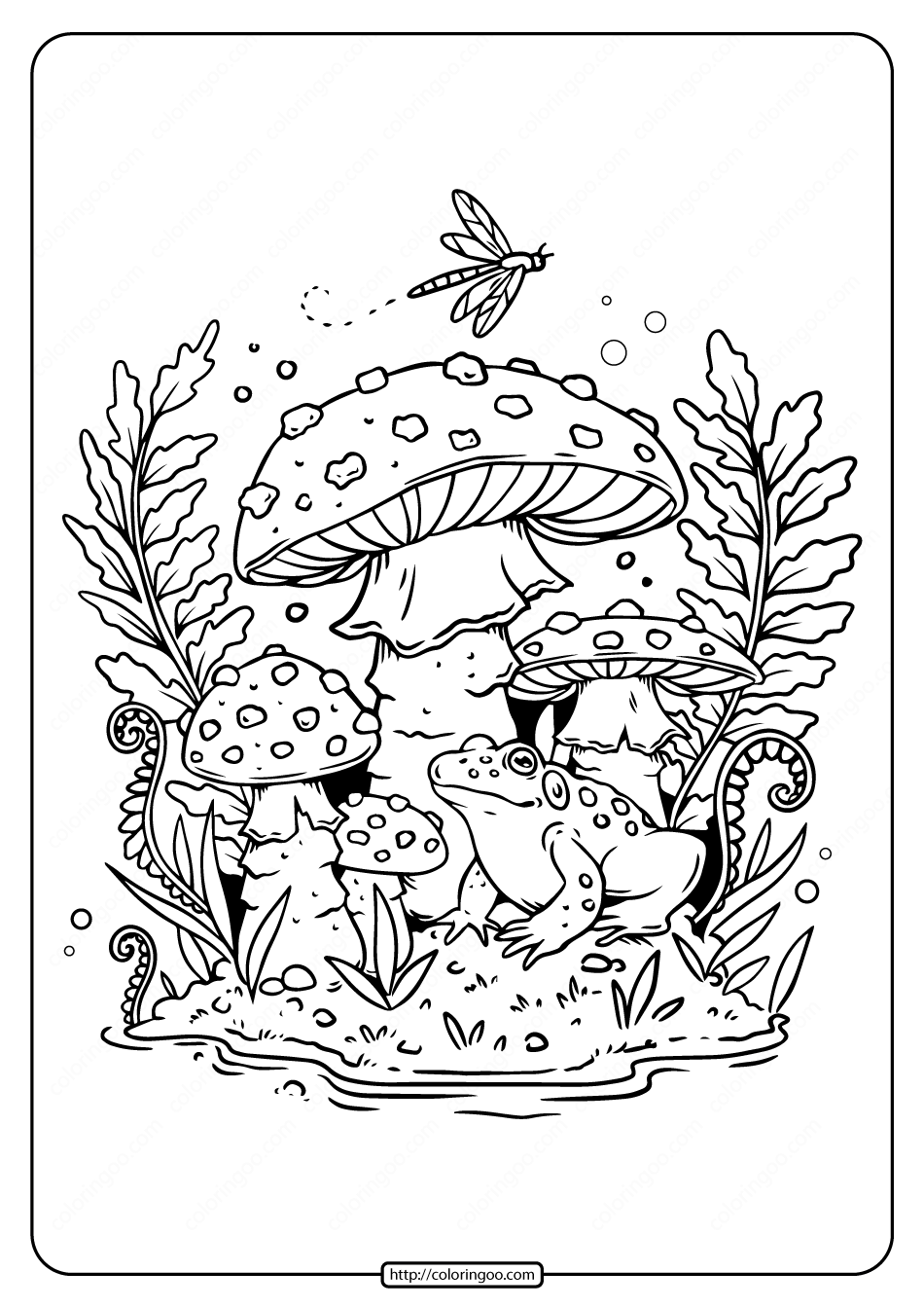 Printable Frog and Mushroom Coloring Pages