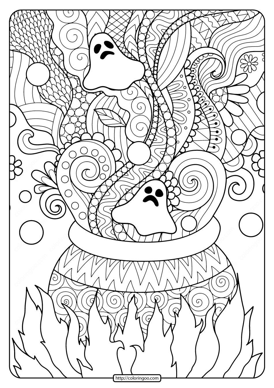 Printable Ghosts and Cauldron Coloring Pages