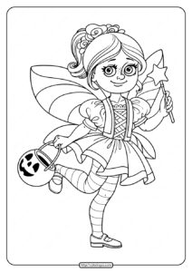 Printable Girl in Fairy Costume Coloring Pages