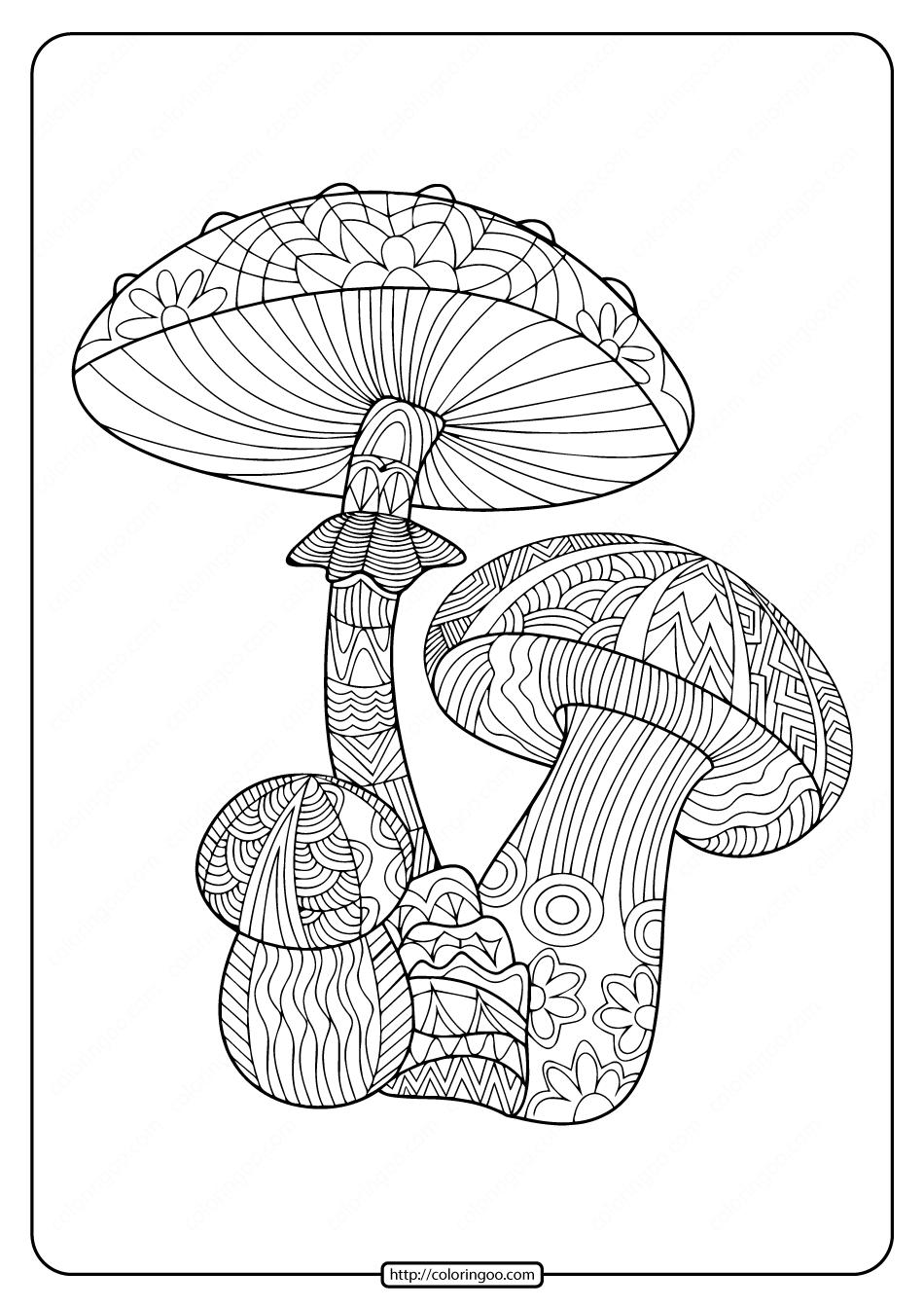 Printable Mushroom Pdf Coloring Pages