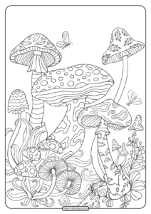 Printable Mushrooms Coloring Pages