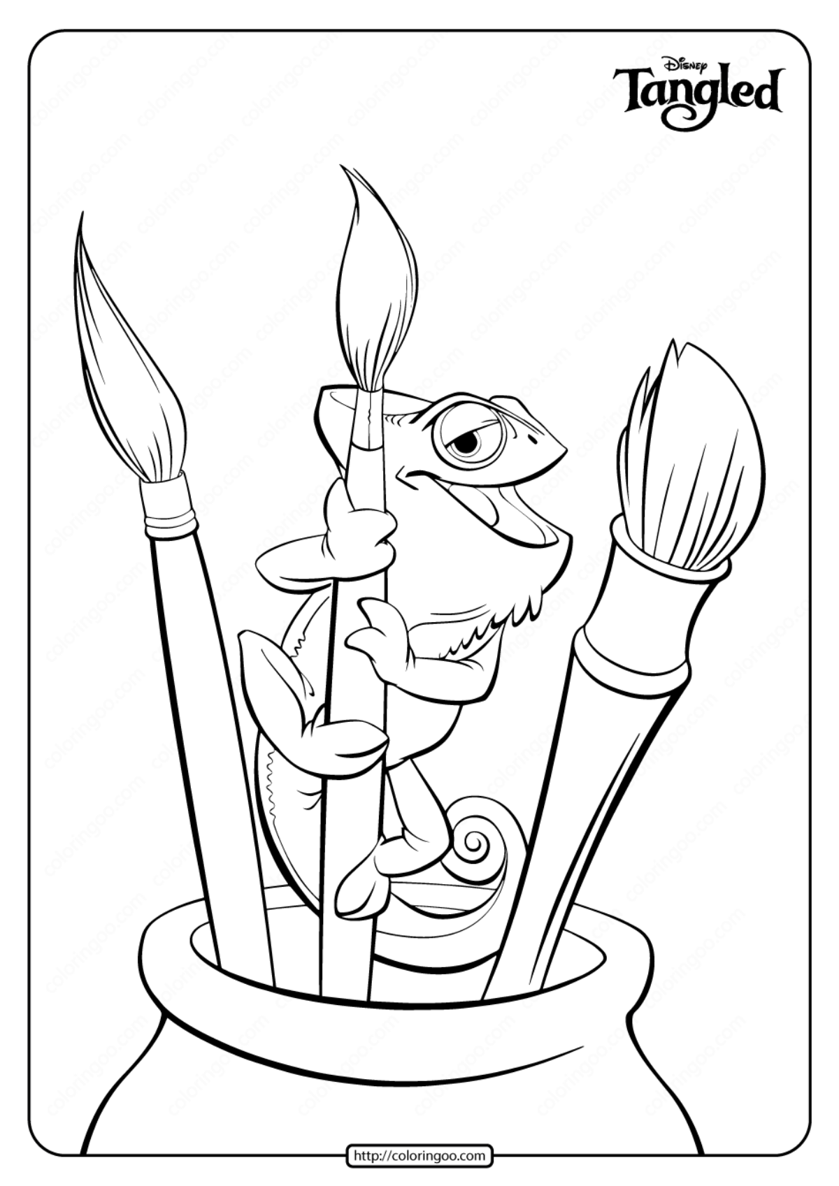Printable Pet Chameleon Pascal Coloring Pages