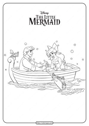 Printable Prince Eric and Ariel Coloring Pages