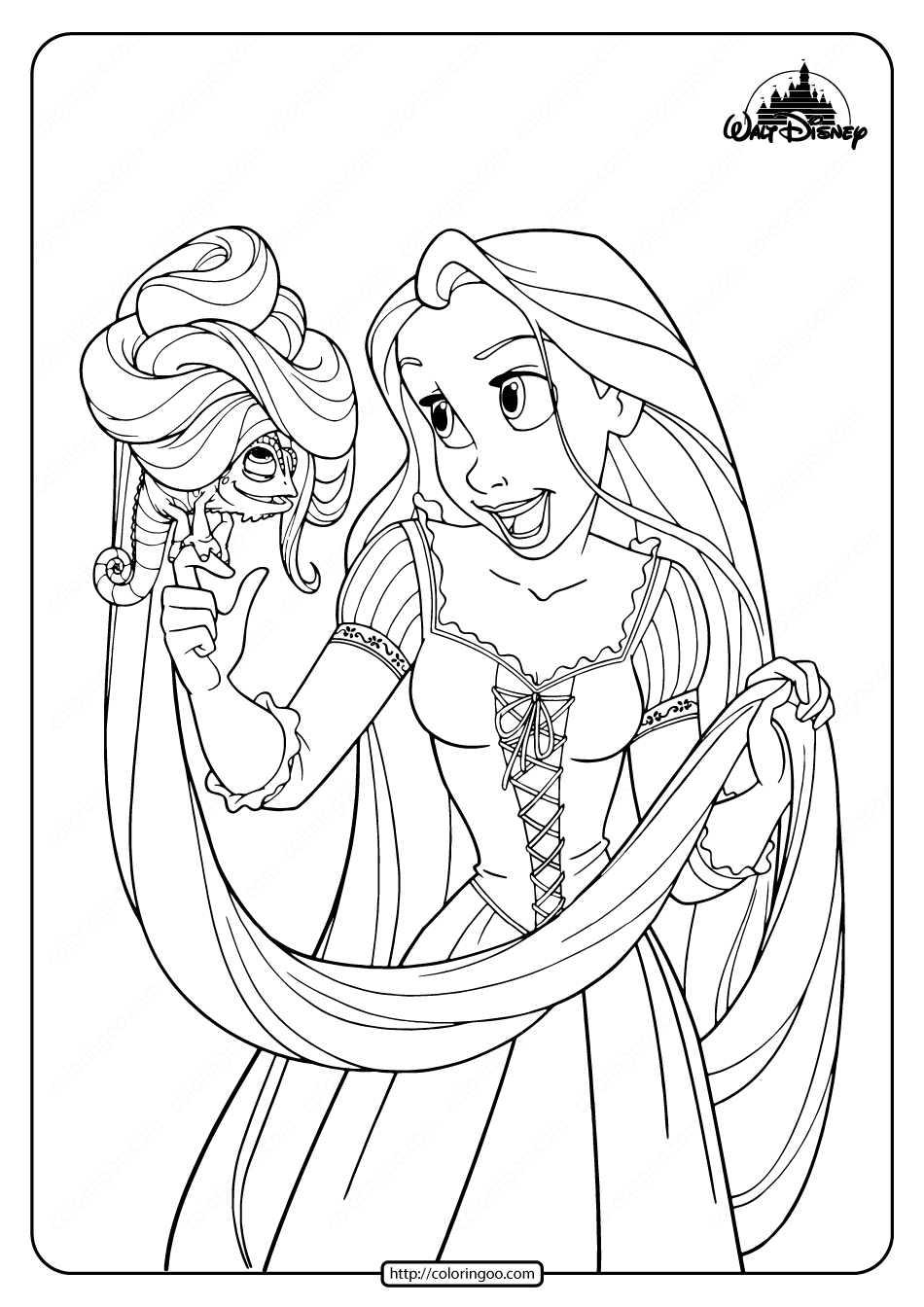 Printable Rapunzel and Her Pet Pascal Coloring Pages