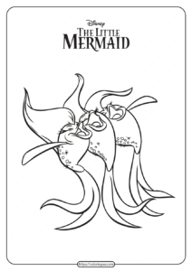 Printable The Little Mermaid Fishes Sing Coloring