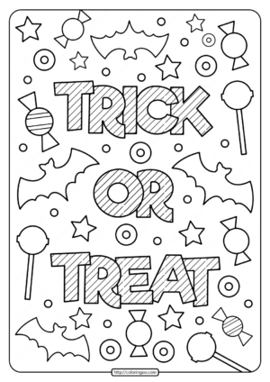 Printable Trick or Treat Coloring Pages