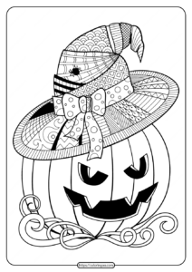 Printable Witch Hat Jack O Lantern Coloring Pages