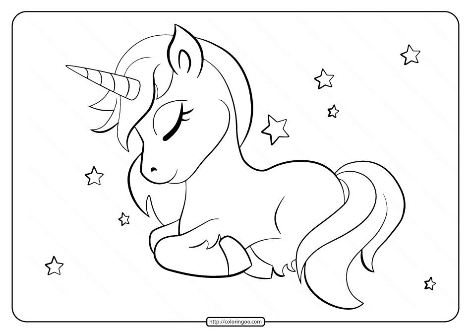 Beautiful Unicorn Sleeping Coloring Page