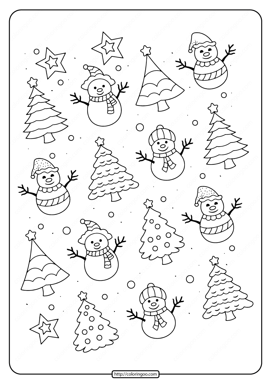 Easy Snowmen Coloring Pages for Kids