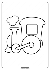 Easy Train Coloring Page for Kids