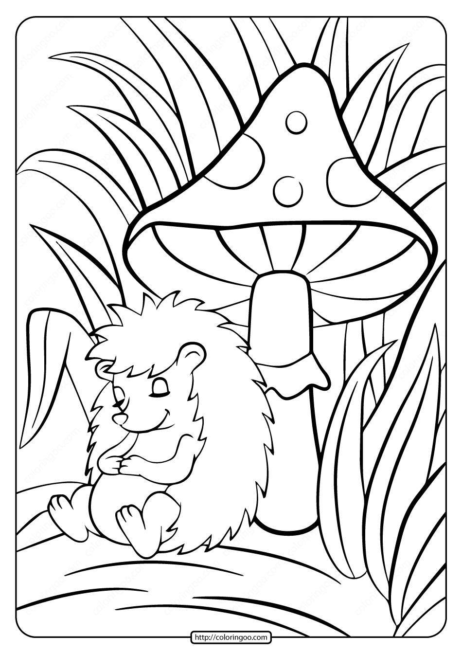 Hedgehog Sleeping Under the Mushroom Coloring