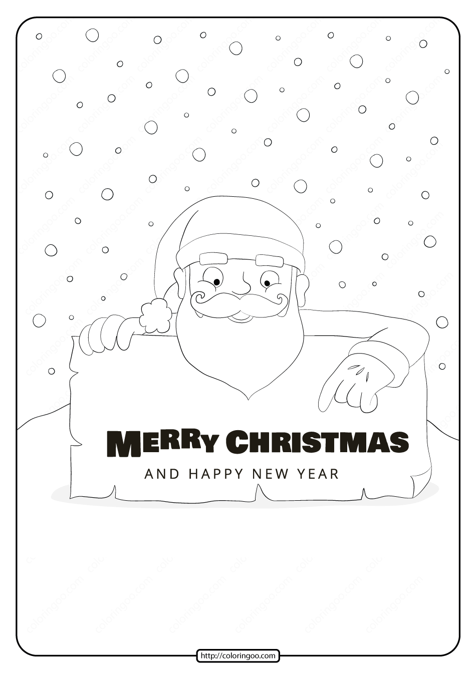 Merry Christmas and Happy New Year Coloring Pages