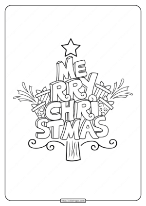 Merry Christmas Tree Coloring Pages