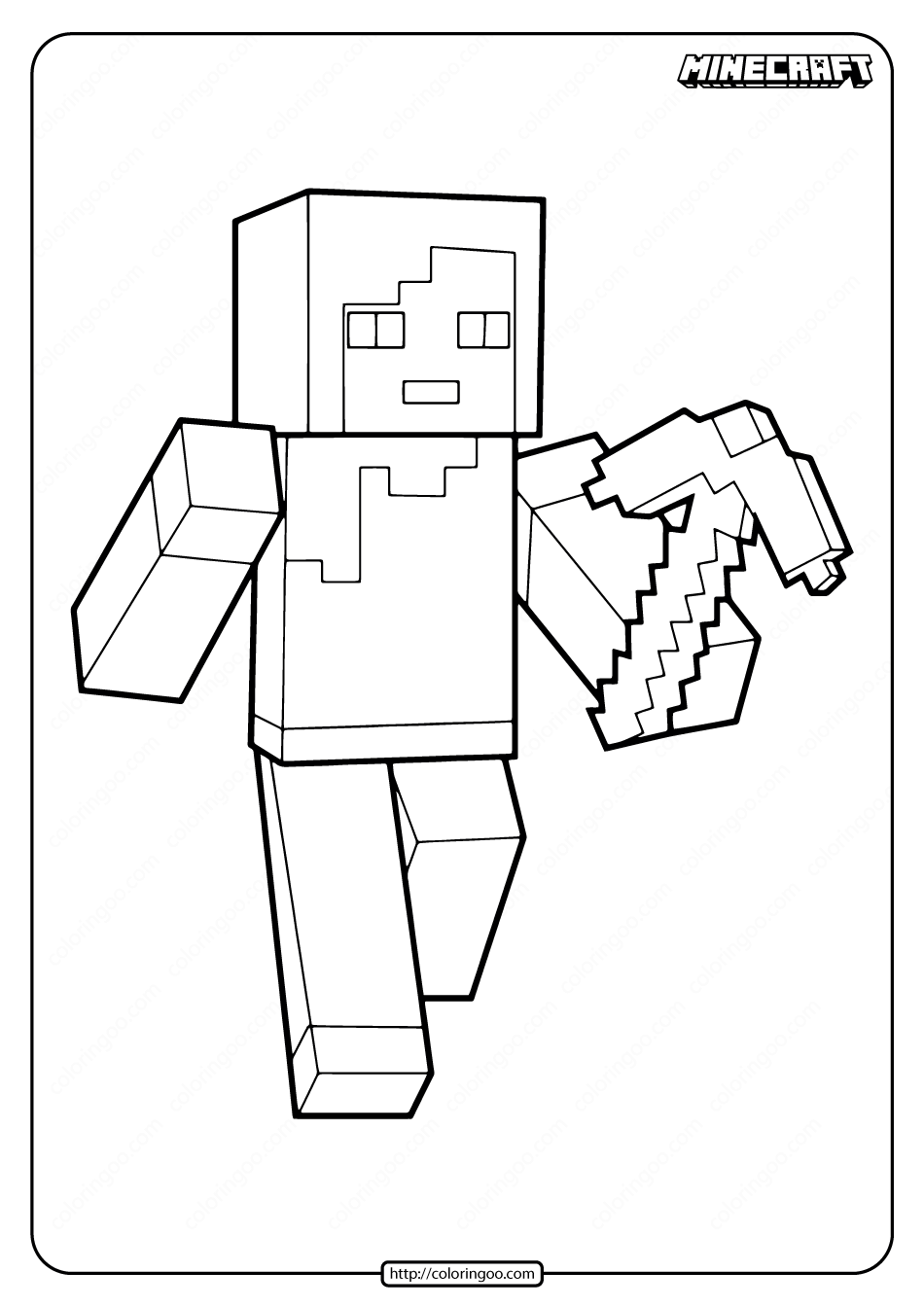 Minecraft Alex with Pickaxe Coloring Pages