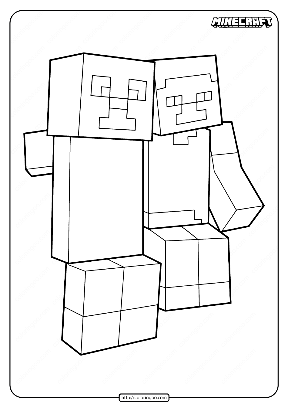 Minecraft Creeper and Steve Coloring Pages