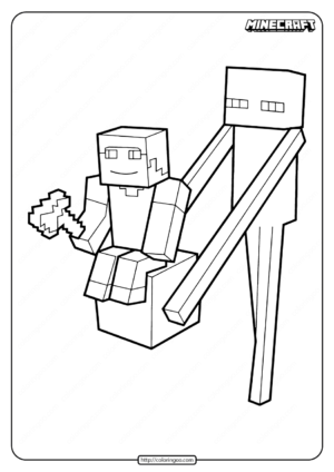 Minecraft Enderman with Steve Coloring Pages