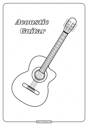 Printable Acoustic Guitar Coloring Pages