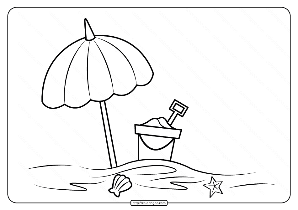 Printable Beach Umbrella Coloring Pages