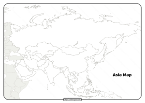 Printable Blank Map of Asia Countries Worksheet