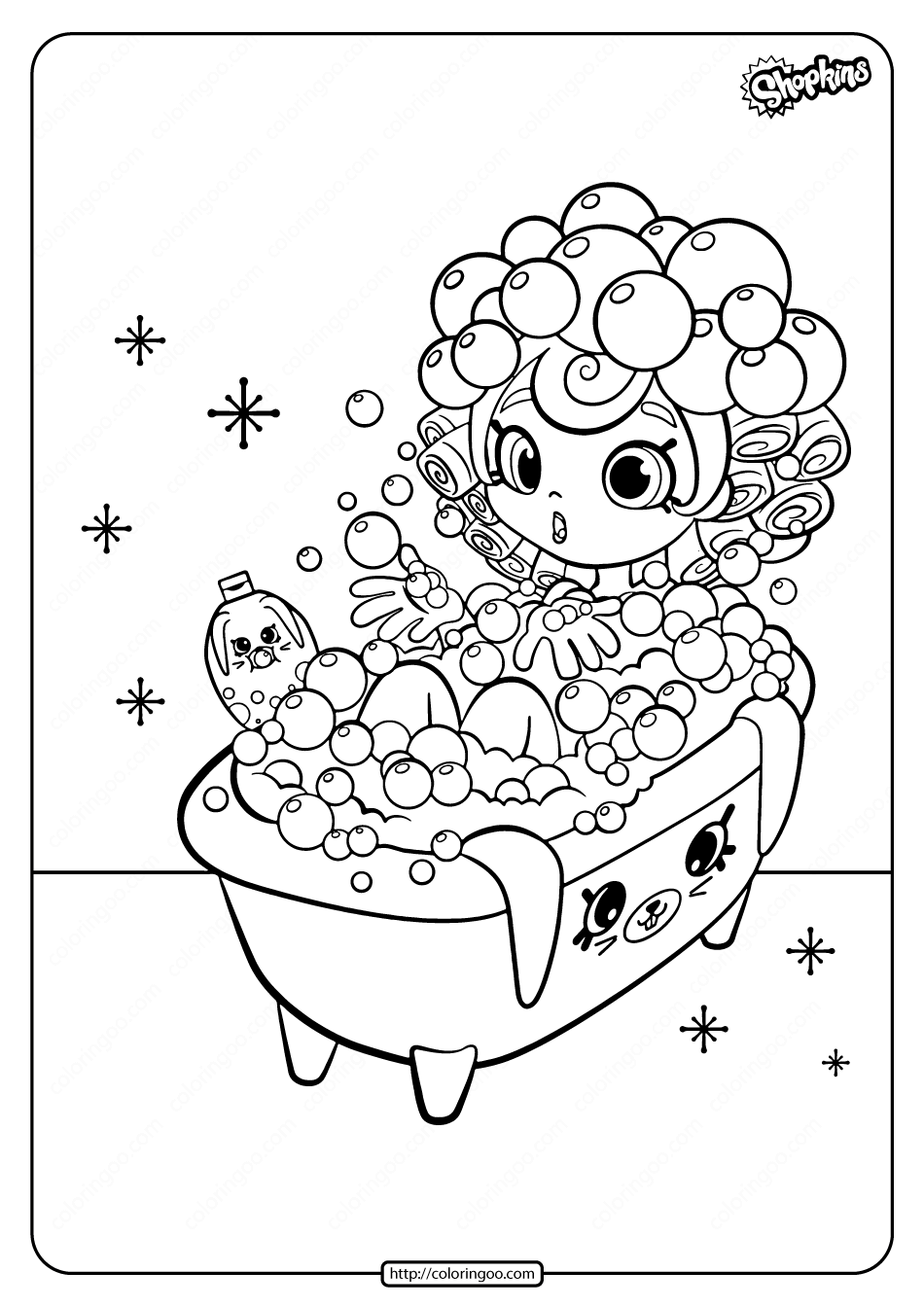 Printable Bubbleisha Shopkins Coloring Pages