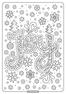 Printable Christmas Joy Coloring Pages