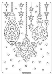 Printable Christmas Ornaments Adult Coloring Pages