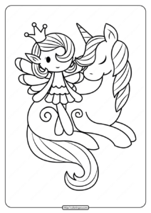 Printable Fairy And Unicorn Coloring Pages