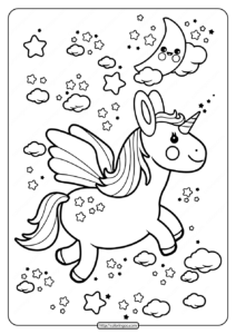 Printable Flying Kawaii Unicorn Coloring Pages
