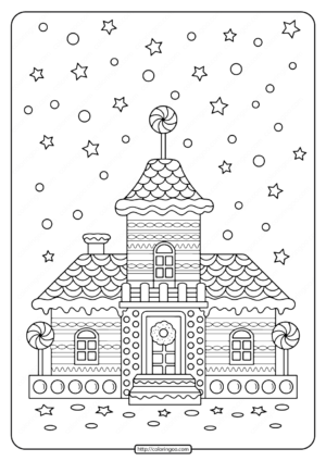 Printable Gingerbread House Adult Coloring Pages
