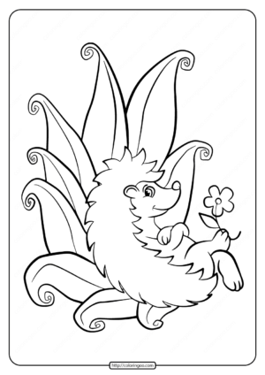 Printable Hedgehog in the Forest Coloring Pages
