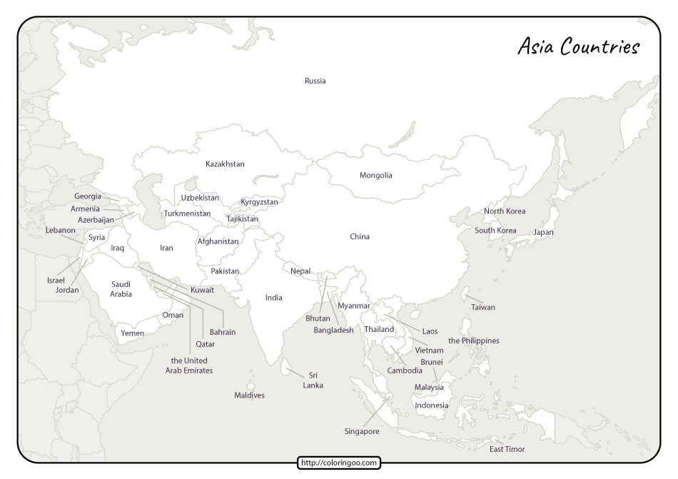 Printable Map of Asia Countries Pdf Worksheet