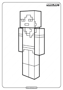 Printable Minecraft Alex Coloring Pages