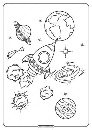 Printable Rocket and Planets Coloring Pages