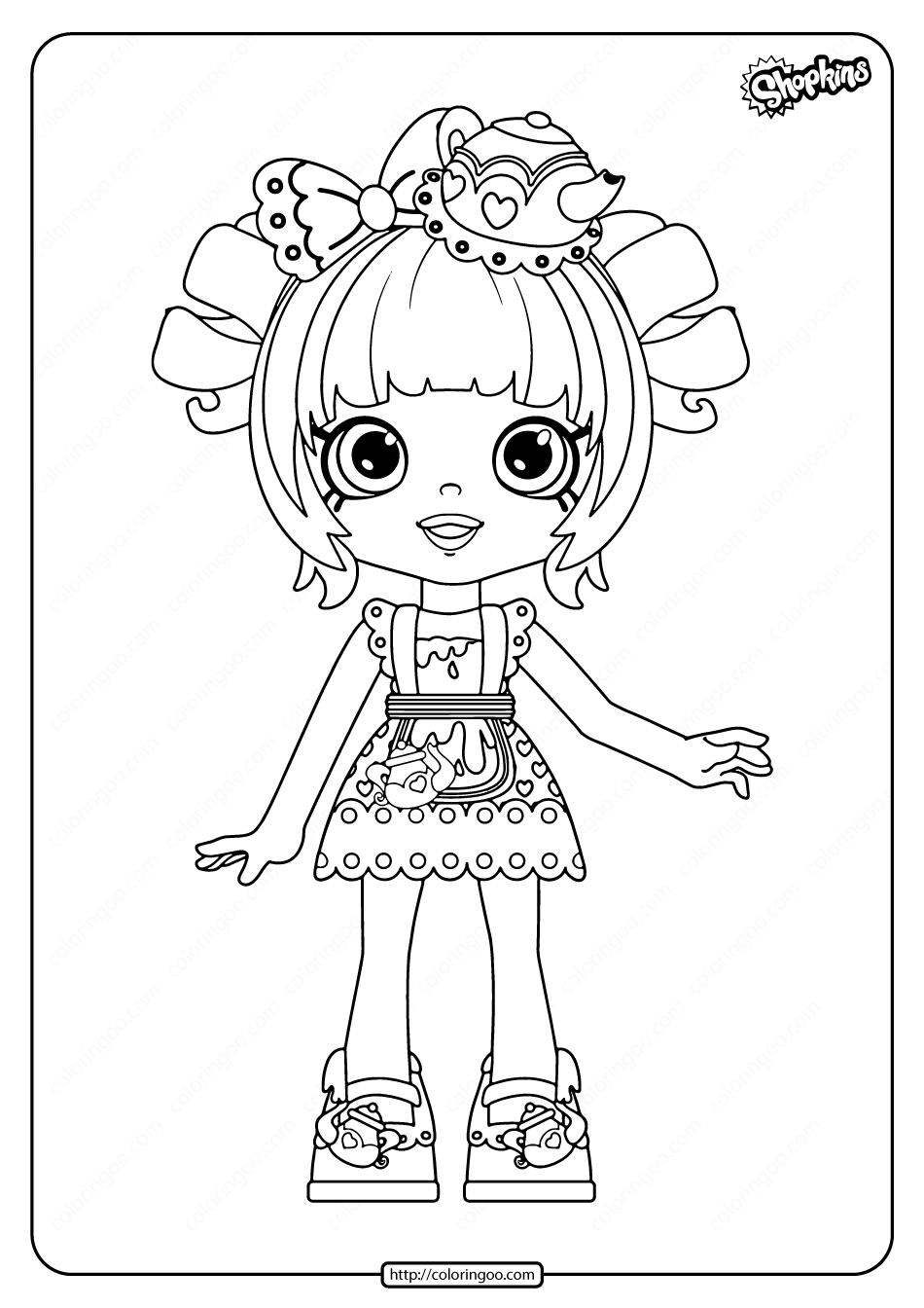 Printable Shopkins Tippy Teapot Coloring Pages