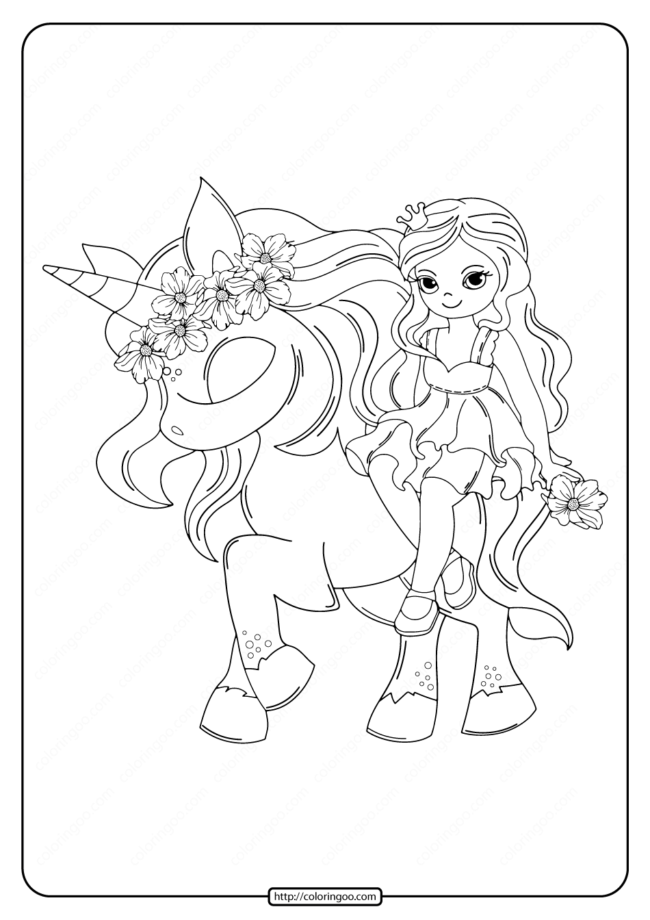 Printable Unicorn with Princess Coloring Pages