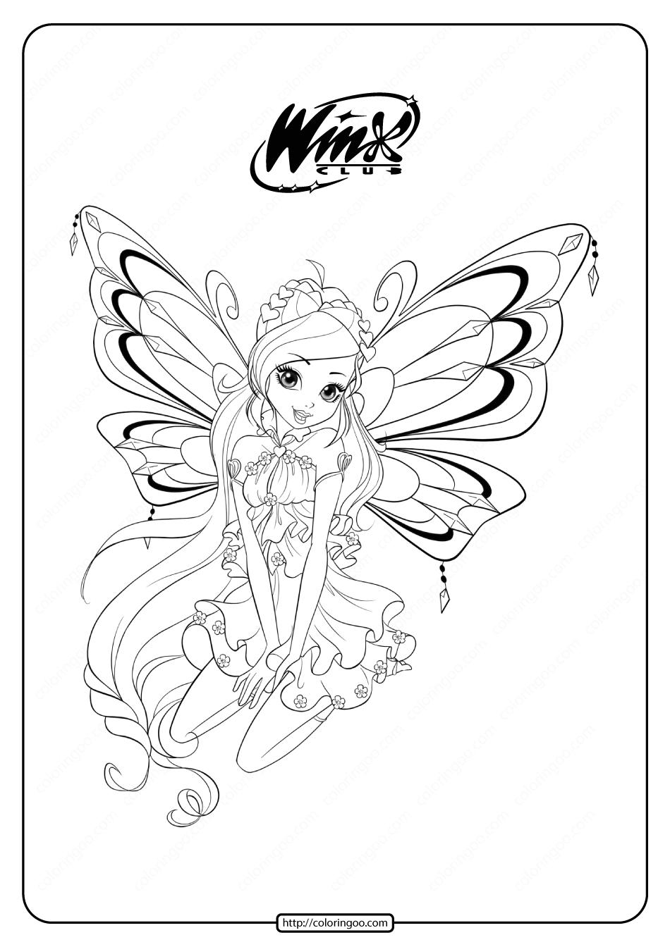 Printable Winx Cbub Enchantix Bloom Coloring Pages