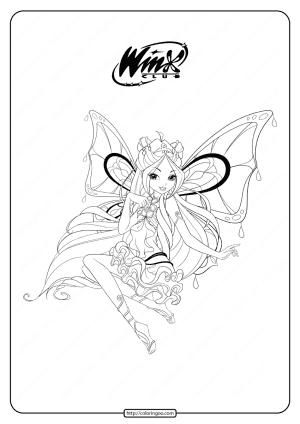 Printable Winx Cbub Enchantix Flora Coloring Pages