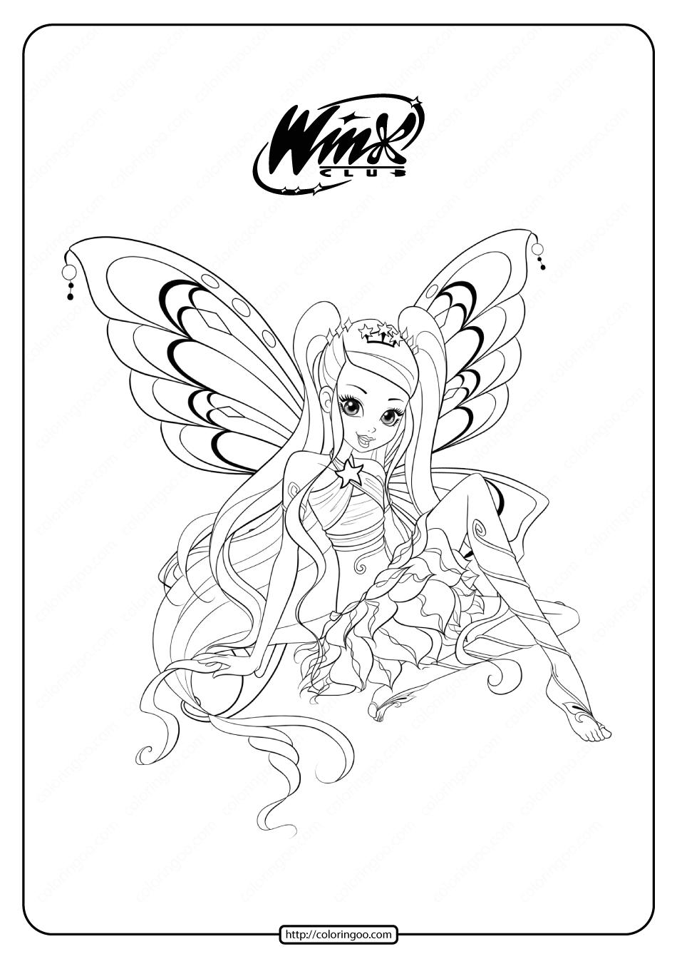 Printable Winx Cbub Enchantix Stella Coloring Pages