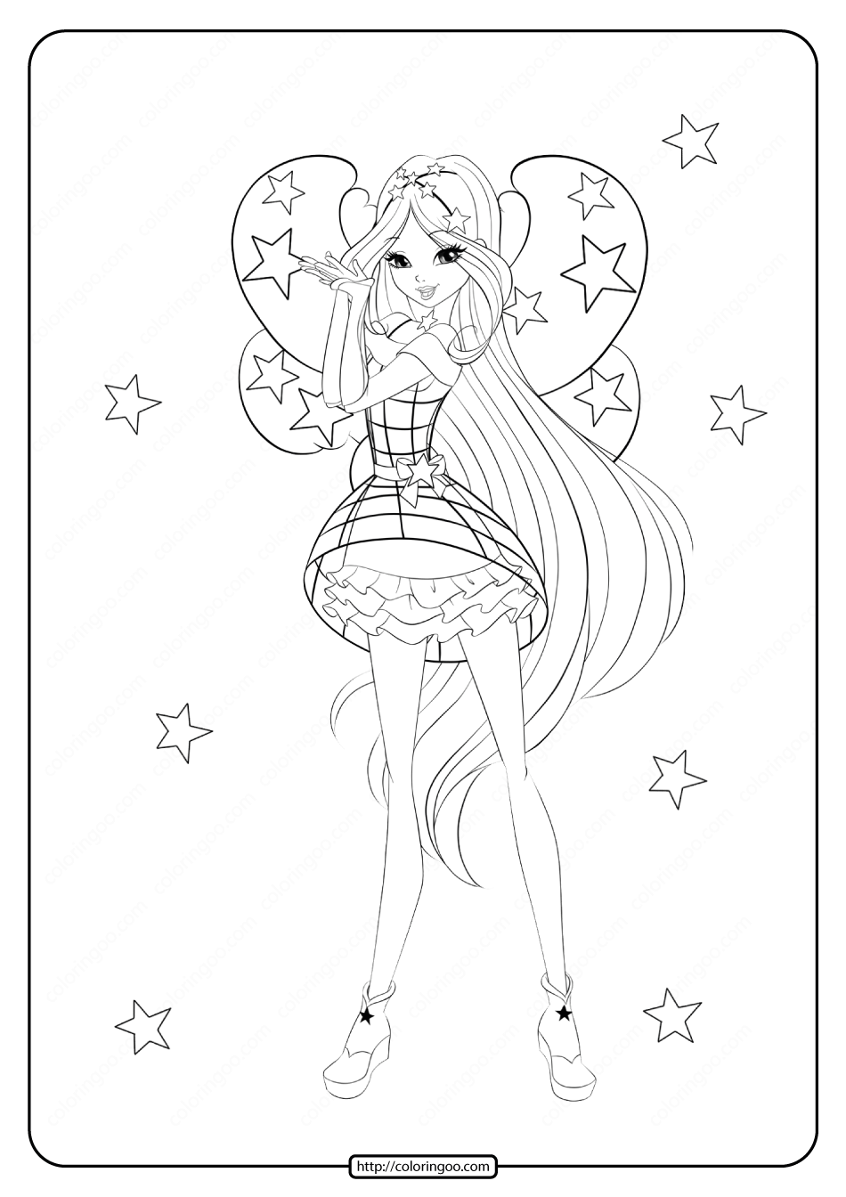 Printable Winx Cosmix Flora Coloring Pages
