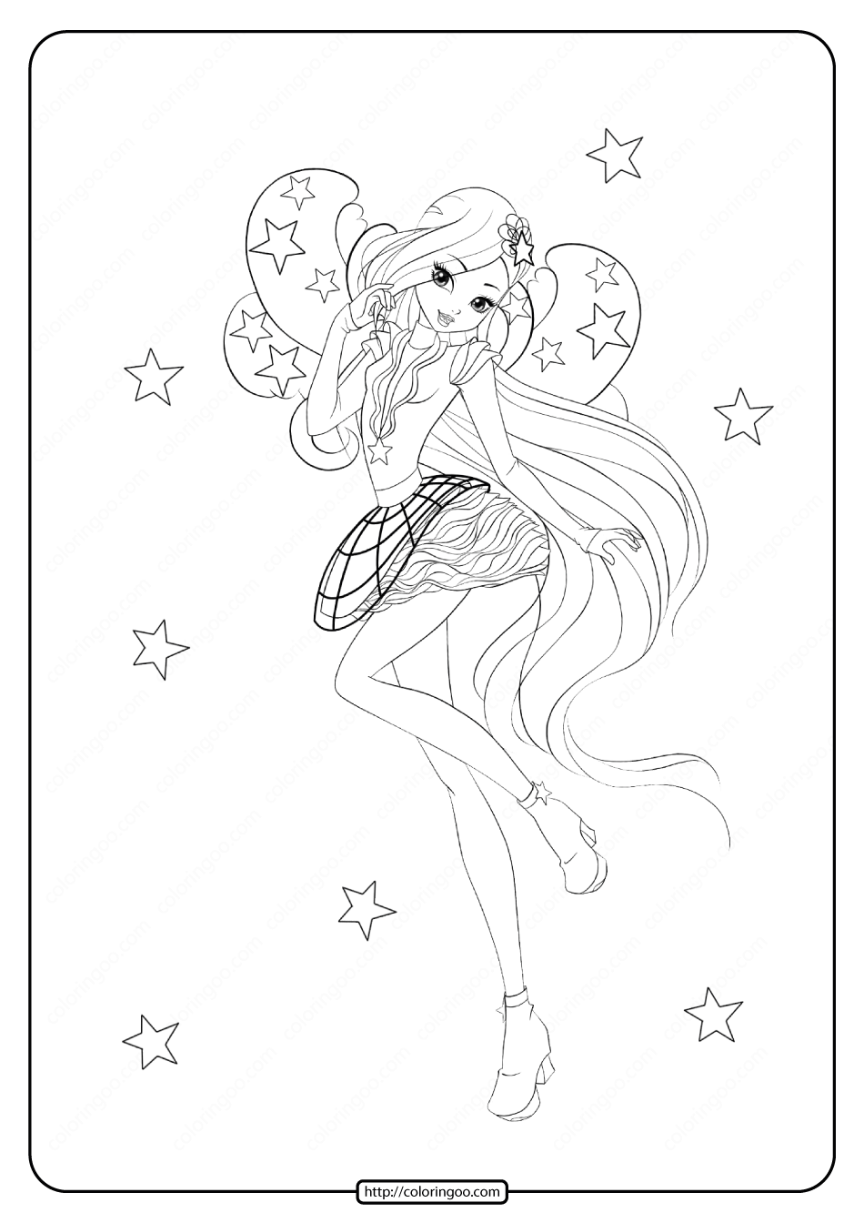 Printable Winx Princess Stella Coloring Pages